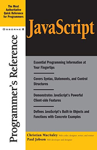 9780072192964: JavaScript Programmer's Reference