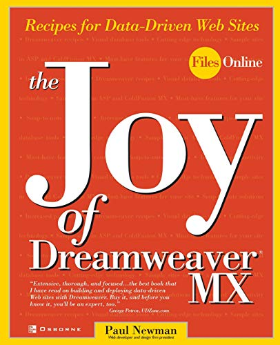 9780072224641: The Joy of Dreamweaver MX: Recipes for Data-Driven Web Sites