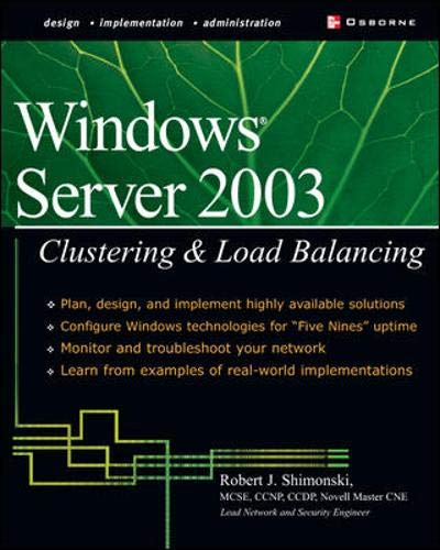 9780072226225: Windows Server 2003 Clustering & Load Balancing