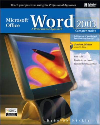 9780072232097: Microsoft Office Word 2003: A Professional Approach, Comprehensive Student Edition w/ CD-ROM