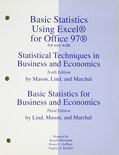 9780072288575: Basic Statistics Using Excel for Office 97 for Use with Statistical Techniques in Business and Economics, 10th Edition: Basic Statistics for Business and Economics, 2nd Edition