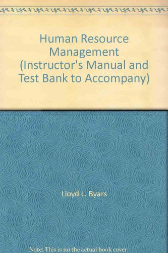 9780072295979: Human Resource Management (Instructor's Manual and Test Bank to Accompany)