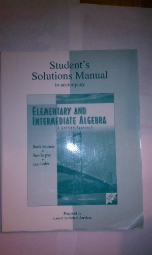 9780072296501: Student's Solutions Manual for use with Elementary and Intermediate Algebra:  A Unified Approach
