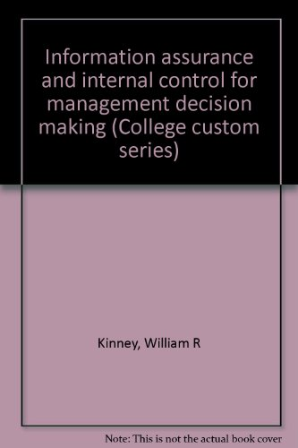 Information assurance and internal control for management: William R Kinney