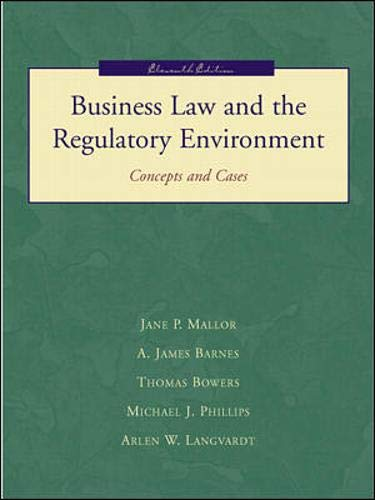 9780072314076: Business Law and the Regulatory Environment. Concepts and Cases. Eleventh (11th) Edition