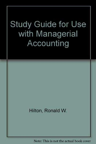 9780072320329: Study Guide (2nd Printing)  for use with Managerial Accounting