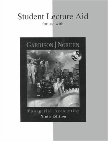9780072324136: Student Lecture Aid for use with Managerial Accounting