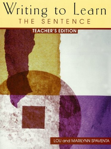 9780072327328: WRITING TO LEARN 1: TEACHER'S EDITION: The Sentence