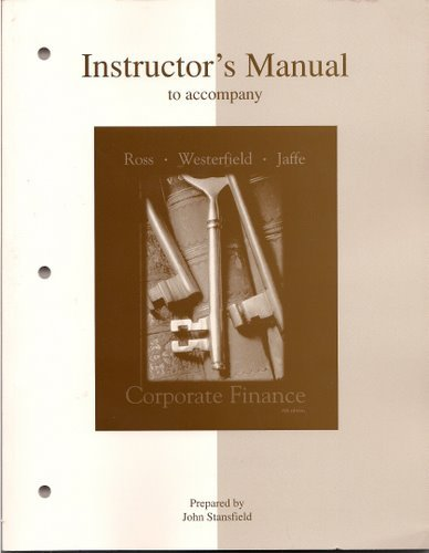 9780072338829: Instructor's Manual to accompany Corporate Finance, Sixth Edition
