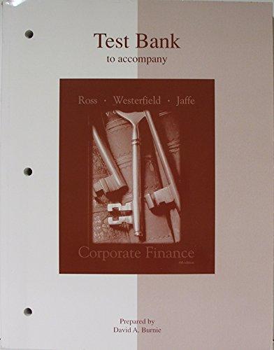 9780072338850: Test Bank to Accompany Corporate Finance