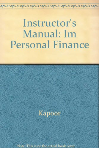 Instructor's Manual : Personal Finance : Sixth Edition.
