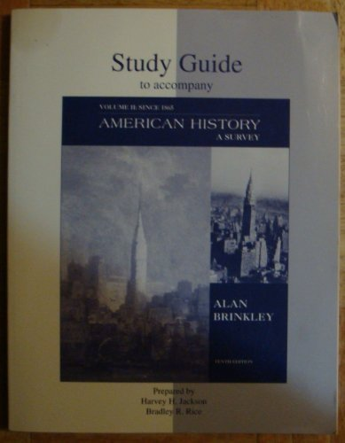9780072354171: American History: A Survey, Vol. 2 (Student Study Guide, 10th Edition)