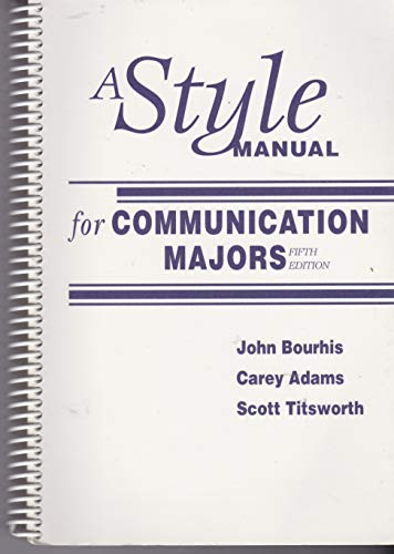 9780072363340: A Style Manual for Communication Majors