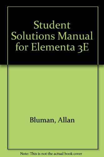 9780072381061: Student Solutions Manual for Elementa 3E