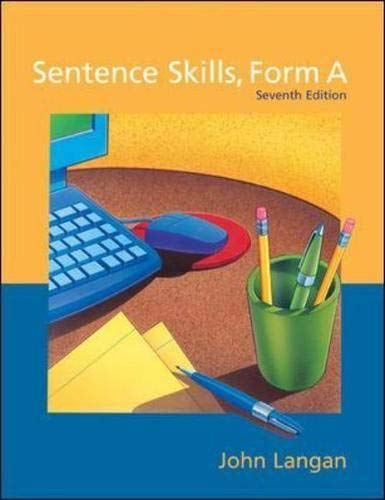 9780072381320: Sentence Skills: A Workbook for Writers, Form A