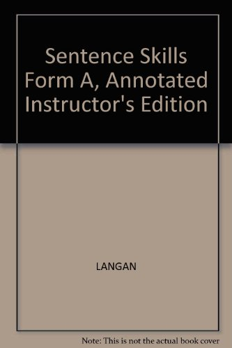 9780072381337: Sentence Skills Form A, Annotated Instructor's Edition