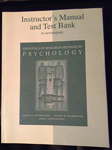 9780072388169: Instructor's Manual/Test Bank for Essentials of Research Methods in Psychology