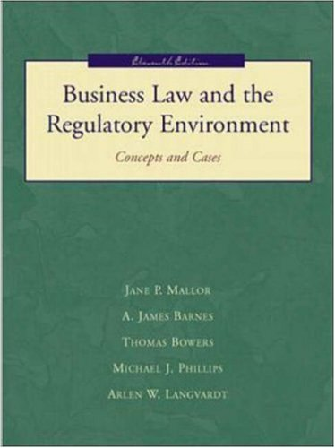 9780072419887: Business Law and the Regualtory Environment: Concepts and Cases