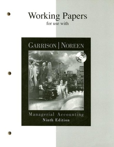 9780072430301: Working Papers for use with Managerial Accounting