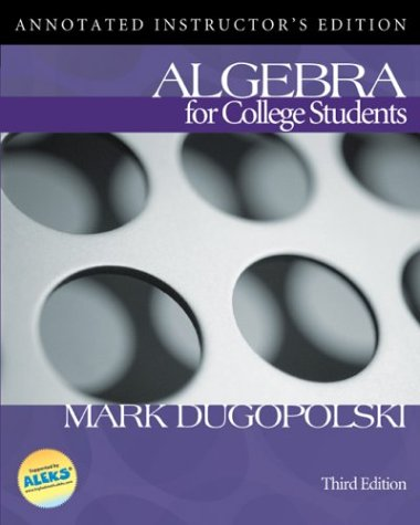 9780072443929: Algebra for College Students