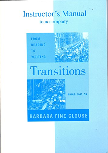 9780072456387: Instructor's Manual to accompany TRANSITIONS FROM READING to WRITING (Third Edition)