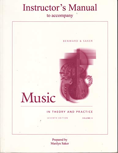9780072457520: Instructor's Manual to Accompany Music in Theory & Practice, Vol. 2