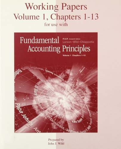 9780072464818: Working Papers, Volume 1, Chapters 1-13 for use with Fundamental Accounting Principles