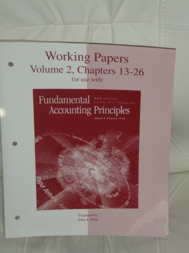 Working Papers, Volume 2, Chapters 13-26 for: Kermit D. Larson,