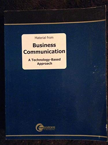 9780072480801: Business Communication: A Technology-Based Approach
