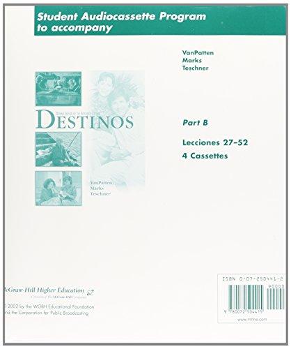 9780072504415: Student Audiocassette Program Part 2 fuw Destinos