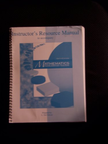 9780072532982: Instructor's Resource Manual to Accompany Mathematics for Elementary Teachers