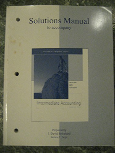 9780072534719: Solutions Manual Volume 2 to Accompany Intermediate Accounting