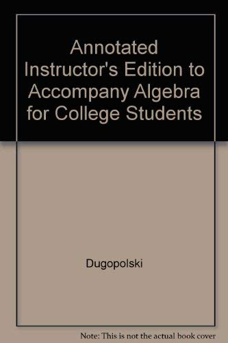9780072546552: Annotated Instructor's Edition to Accompany Algebra for College Students