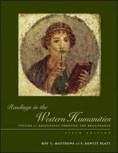 9780072556391: Readings in the Western Humanities, Volume 1: v. 1