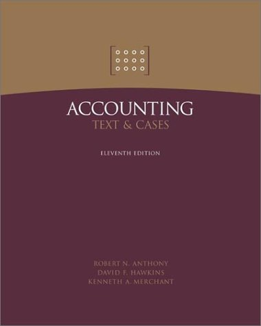 accounting text and cases by robert n anthony davvid f hawkins kenneth a merchant Accounting: text and cases 12e - instructor's manual anthony/hawkins/merchant question 2 the income statement tells mrs antoine that the partnership has suffered a $10,854 loss for the first five months of operation.