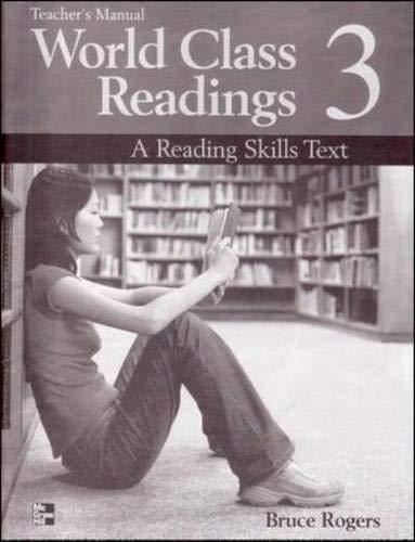 9780072825527: WORLD CLASS READINGS 3 Teacher's Manual/Answer Key: A Reading Skills Text: Teacher's Manual/answer Key Bk. 3