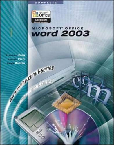 9780072830545: I-Series: Microsoft Office Word 2003 Complete