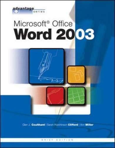 9780072834239: The Advantage Series: Microsoft Office Word 2003, Brief Edition