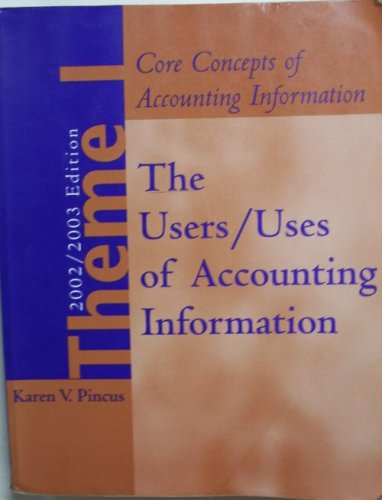 The User/Uses of Accounting Information (Core Concepts of Accounting Information, 2002/...