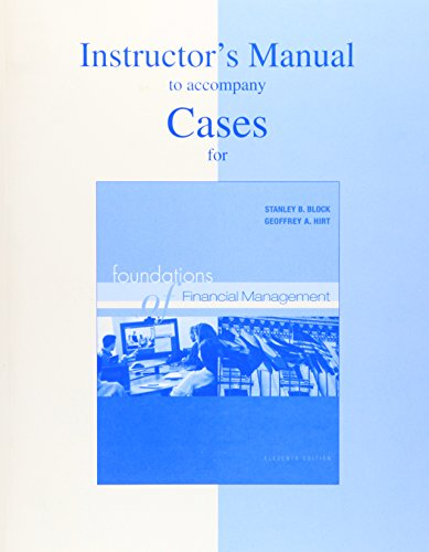 9780072842371: Instructor's Manual to Accompany the Casebook for Foundations of Financial Management