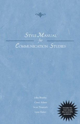 9780072843545: Style Manual for Communication Studies - Updated Printing with 2002 APA Guidelines