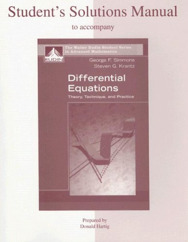 9780072863161: Student's Solutions Manual to accompany Differential Equations: Theory, Technique and Practice