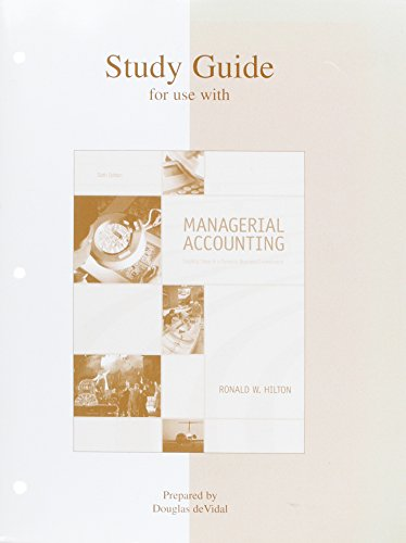 9780072866278: Study Guide for use with Managerial Accounting