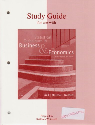 9780072868296: Study Guide for use with Statistical Techniques in Business and Economics