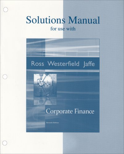 9780072871920: Solutions Manual to accompany Corporate Finance: SSM Corporate Finance