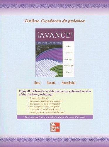 9780072882810: Online Workbook/Laboratory Manual to accompany ¡Avance! Intermediate Spanish