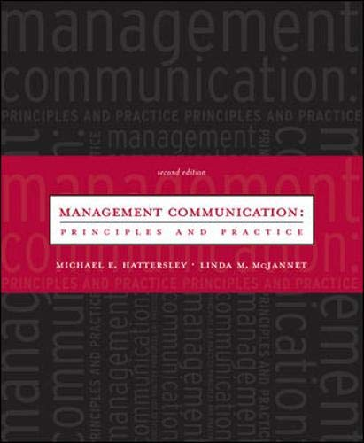 9780072883565: Management Communication: Principles and Practice