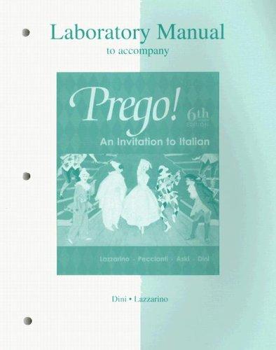 9780072883718: Laboratory Manual to accompany Prego! An Invitation to Italian
