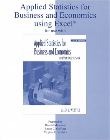 9780072892383: Applied Statistics for Business & Economics Using Excel (Workbook)
