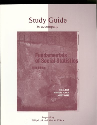 9780072904109: Study Guide for use with Fundamentals of Social Statistics